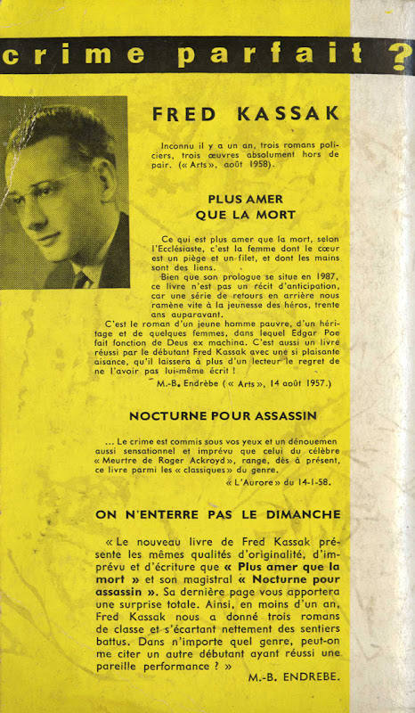 Couverture de polar vintage : On n'enterre pas le dimanche (Fred KASSAK) - Pour vous Madame, pour vous Monsieur, des publicités, illustrations et rédactionnels choisis avec amour dans des publications des années 50, 60 et 70. Popcards Factory vous offre des divertissements de qualité. Vous pouvez également nous retrouver sur www.popcards.fr et www.filmfix.fr   - For you Madame, for you Sir, advertising, illustrations and editorials lovingly selected in publications from the fourties, the sixties and the seventies. Popcards Factory offers quality entertainment. You may also find us on www.popcards.fr and www.filmfix.fr