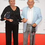 WWW.ENTSIMAGES.COM -     Lady Moss and Sir Stirling Moss  arriving     at       Jaguar XE - World premiere and  Global launch party at Earls Court Exhibition Centre, London September 8th 2014Jaguar premieres its new Jaguar XE car to press and VIPs                                               Photo Mobis Photos/OIC 0203 174 1069