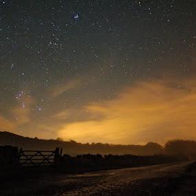 Backbarrow Mist by Mark Airey - Landscapes Starscapes ( stars, trees, long exposure, nikon, light pollution, night sky, mist, gate )