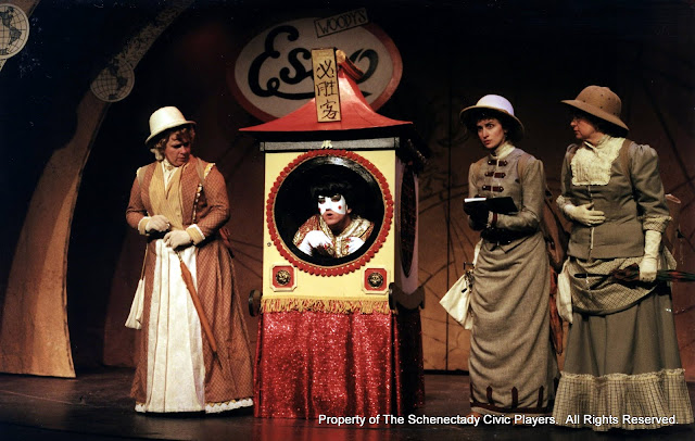 Christine Boice Saplin, Colin McCarty, Eileen McCashion and Rita Russell in ON THE VERGE - January/February 2000.  Property of The Schenectady Civic Players Theater Archive.