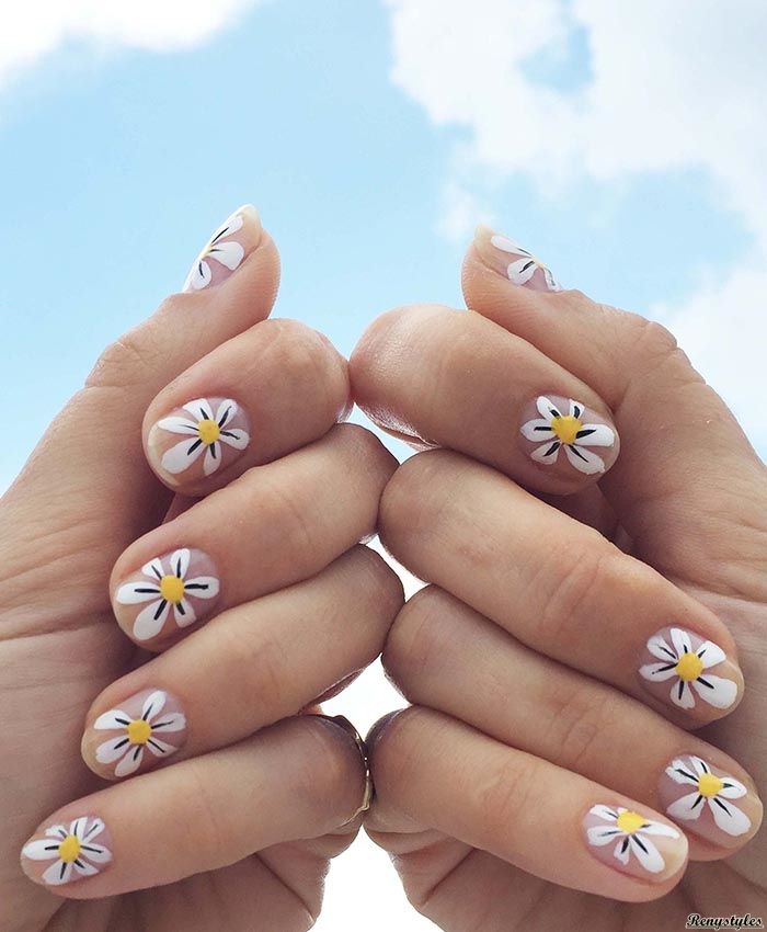 Best Daisy Nails & Floral Nail Art