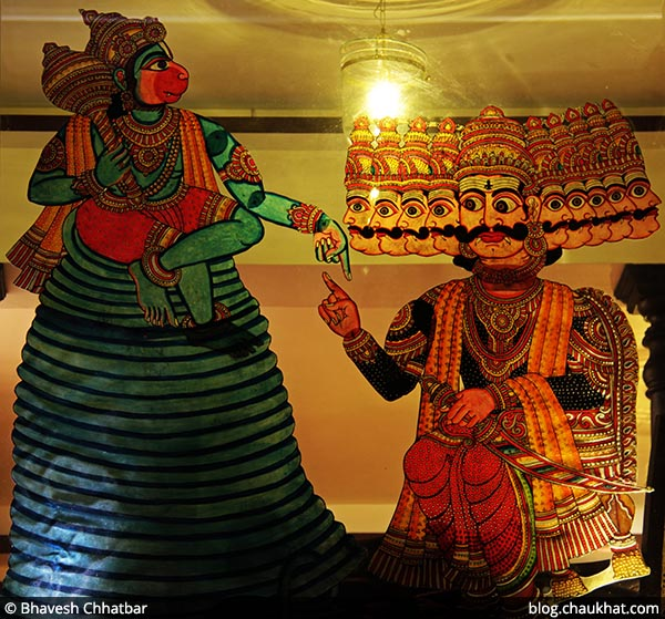 Painting showing conversation between Hanuman and Ravan, at Savya Rasa [Koregaon Park, Pune]