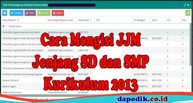 Cara Mengisi JJM Aplikasi Dapodik Versi Terbaru