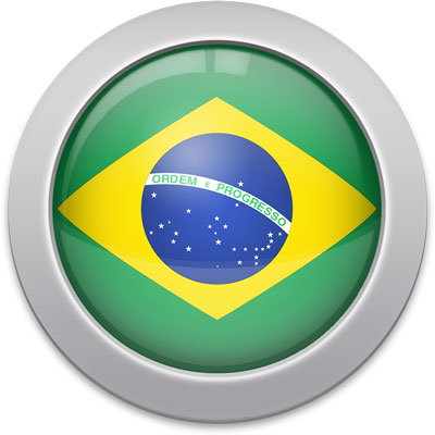 Brazilian flag icon with a silver frame