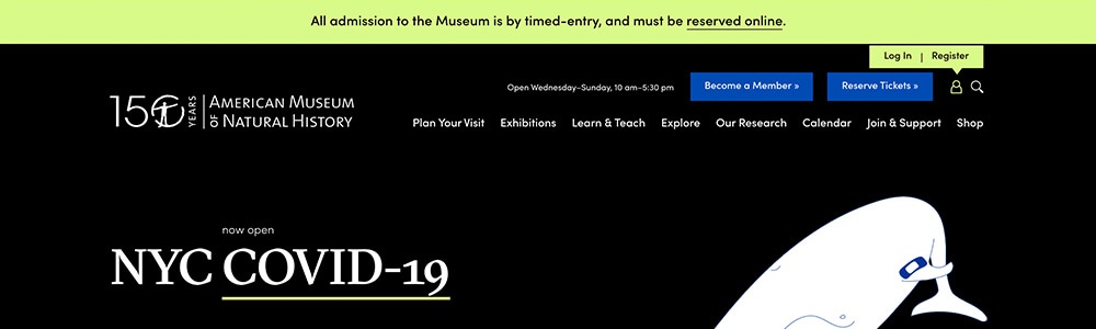 AMNH website announcement banner