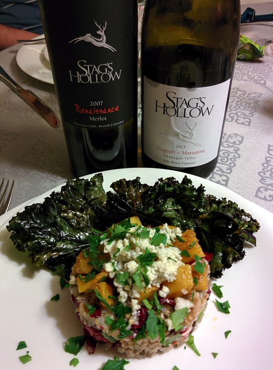 Stag's Hollow 2007 Renaissance Merlot & 2013 Viognier Marsanne with Mixed Grain & Squash Salad