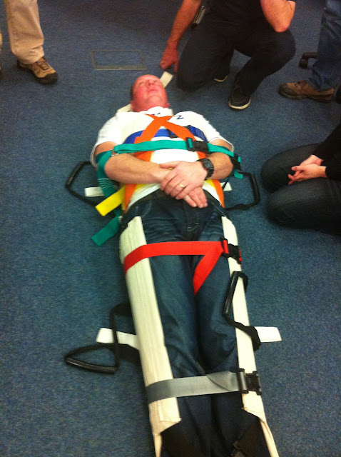 Casualty Care for Lifeboat Crew course – April 2011: crew member Neil Robertson in stretcher