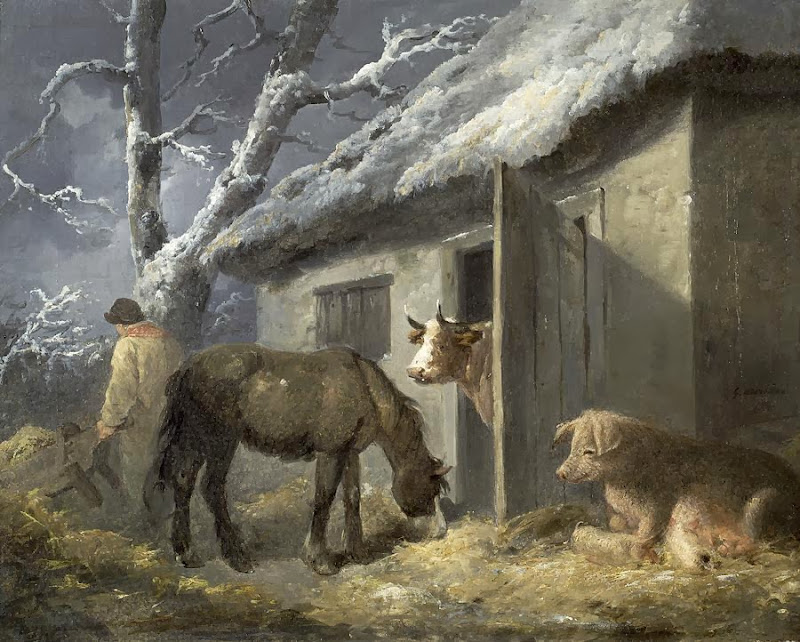 George Morland - Winter Farmyard