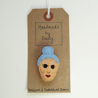 handmade by emily embroidered brooch bun blue hair lady felt