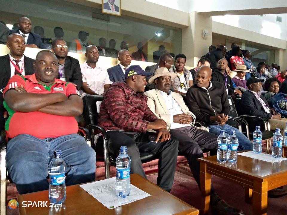 FKF president NICK MWENDWA with ODM president Raila Odinga.