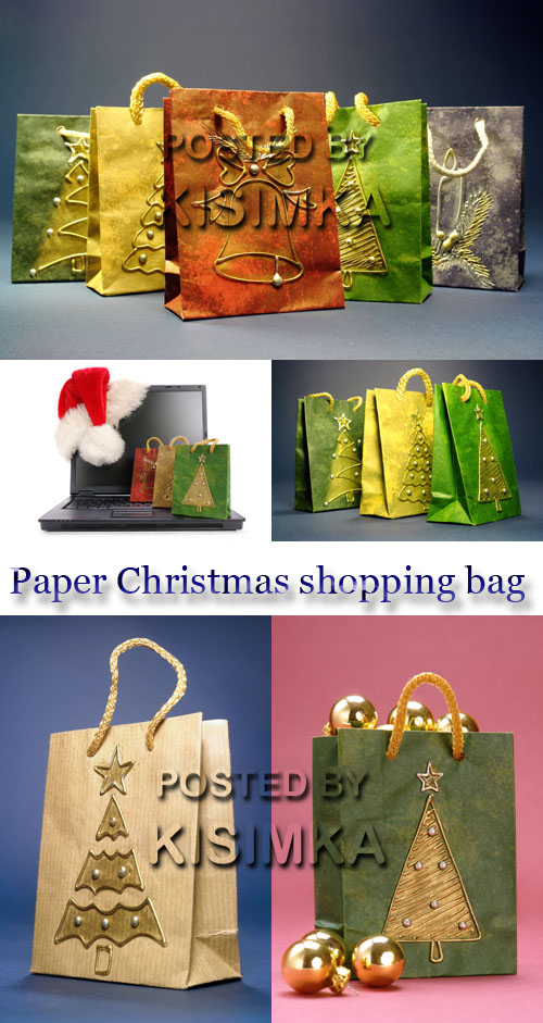 Stock Photo: Paper Christmas shopping bag