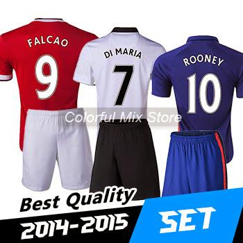 Free Shipping 2015 FALCAO ROONEY DI MARIA Kits Football