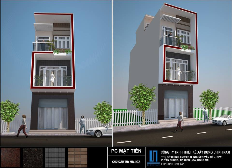 Thiết kế nhà phố Anh Nia ở Biên Hòa - Đồng Nai