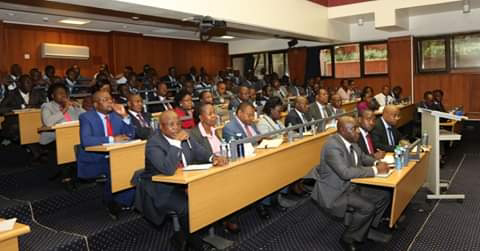 Energy CS Charles Keter at Power headquarters meeting managers. PHOTO | BMS