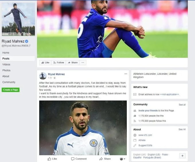 Riyad Mahrez Announces Retirement on his official Facebook page