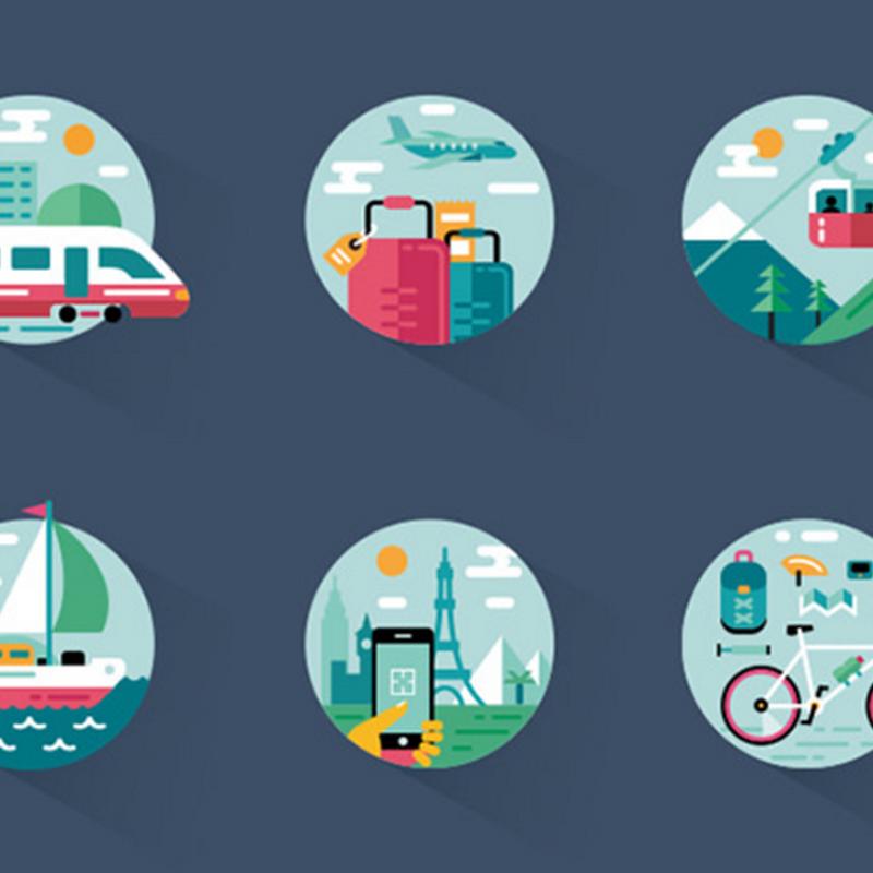 10 paquetes de íconos dedicados a viajes