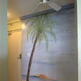 Beautiful hand painted mural as you leave.  Ceiling fan.