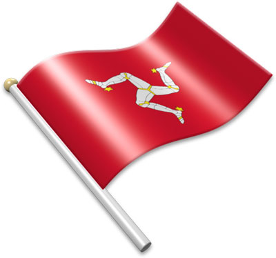 The Manx flag on a flagpole clipart image