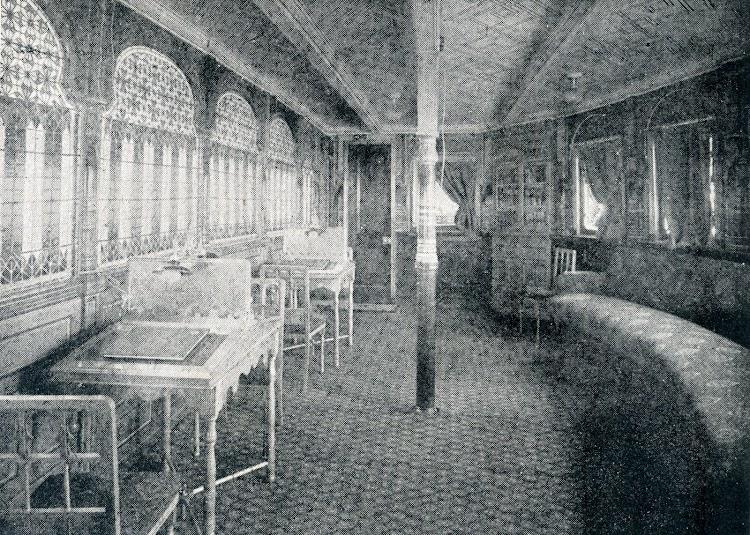 Vapor ALFONSO XIII. Salón Biblioteca. Del Libro de Informacion para el Pasajero. Compañia Trasatlantica. Año 1908.jpg