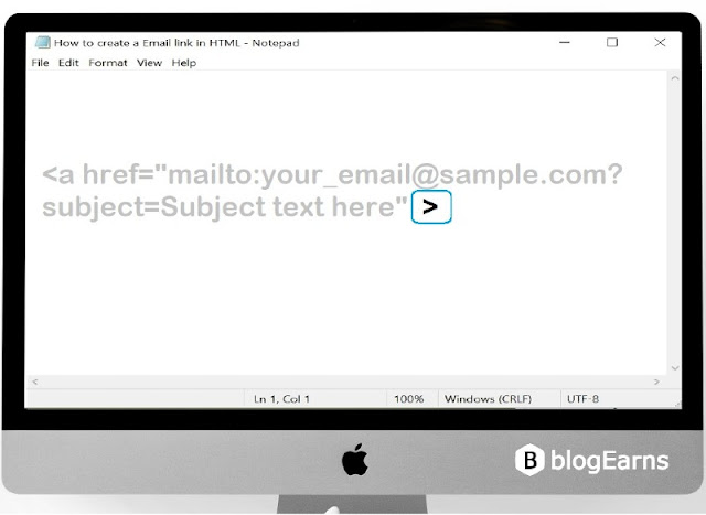 how to create an email link in HTML - step5