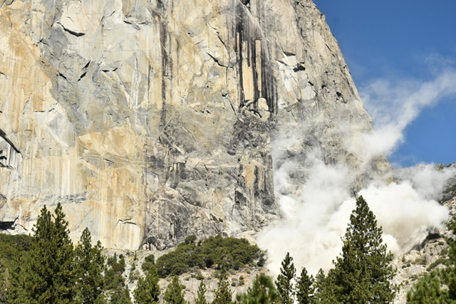 The face of El Capitan after a rockslide on 27 September 2017 killed one person. Photo: Reuters