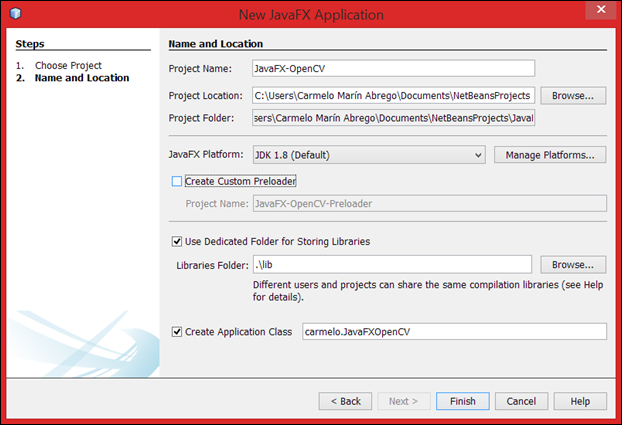 Create JavaFX-OpenCV Project