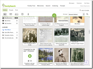 User interface of the FamilySearch gallery view currently being rolled out