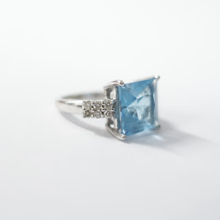 14K White Gold, Blue Stone, and Diamond Ring