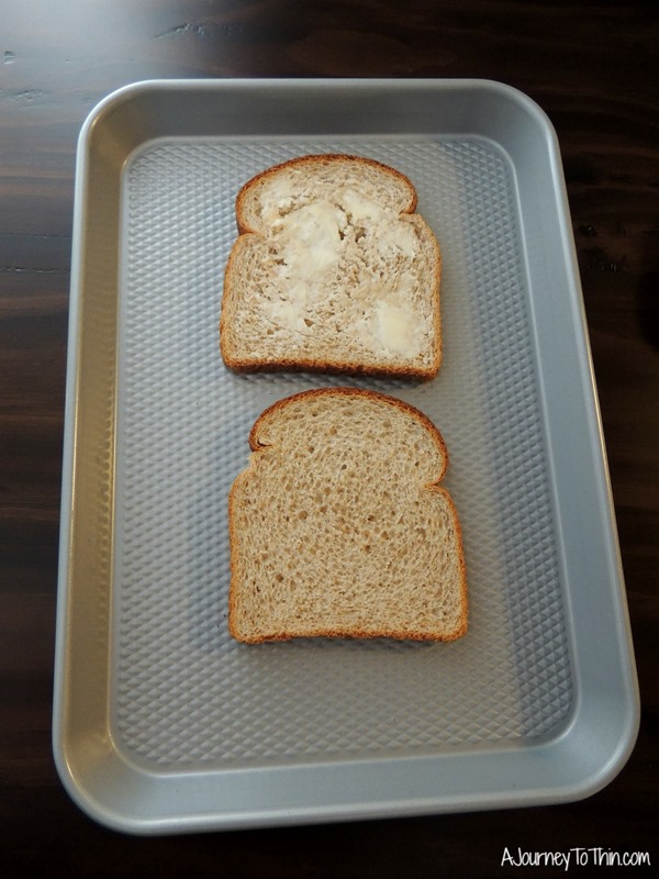 Grown up Grilled Cheese butter the bread