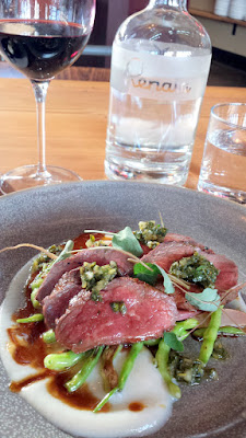 From the Renata Grill, Beef Tagliata with radish, nasturtium pesto, and turnip puree