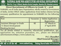 NABARD Officers Grade A Notification 2018 www.indgovtjobs.in