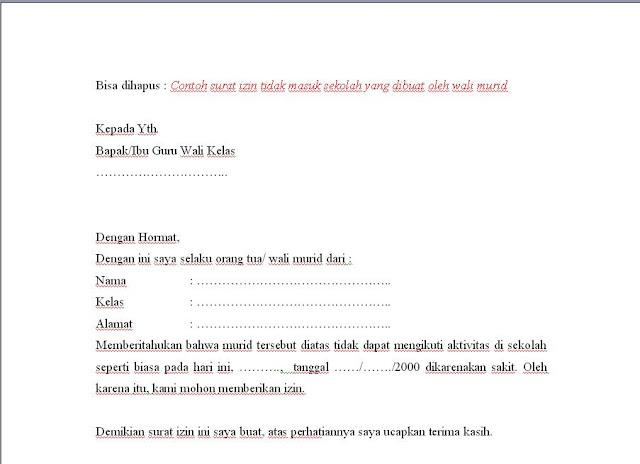 surat ijin wali wali murid sekolah