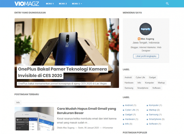 Download Template VioMagz Blogger Gratis