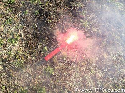 発煙筒の試し着火