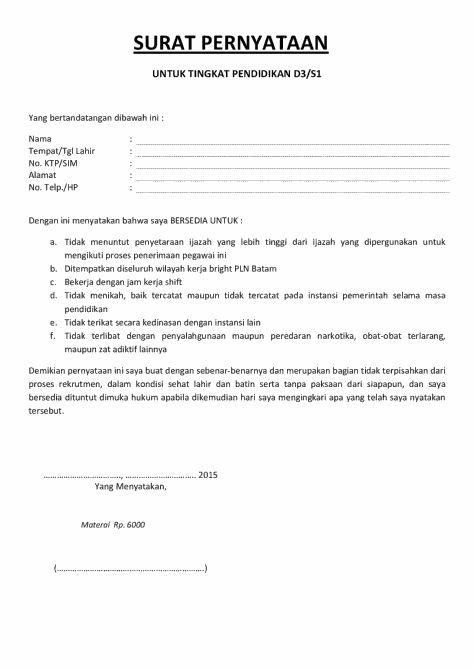 Surat pernyataan masuk kuliah  Contoh Surat