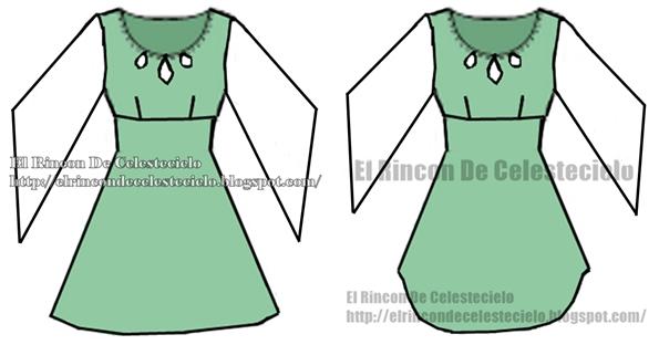 Trazo y corte de blusa o vestido escote lágrima y corte imperio