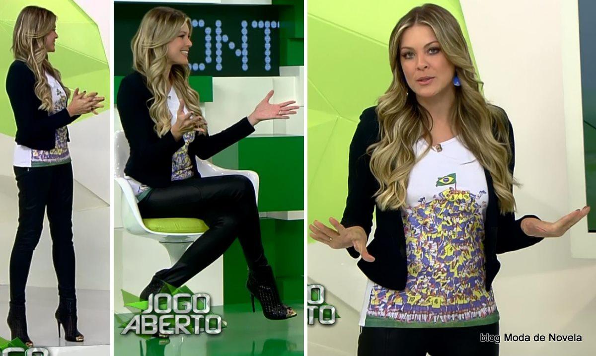 moda do programa Jogo Aberto - look da Renata Fan dia 27 de maio
