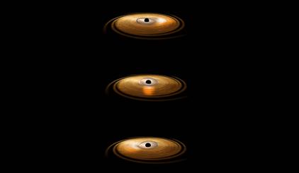 ilustração do disco de acreção de um buraco negro sofrendo precessão
