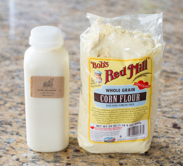 photo of a package of corn powder and a package of corn flour