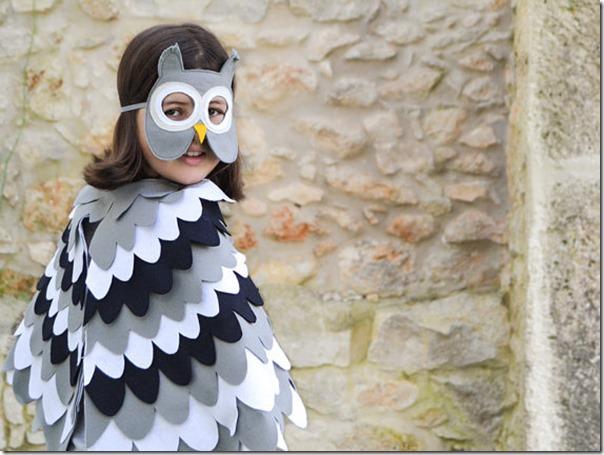 disfraz de pajaros, buhos cisnes con poncho (1)