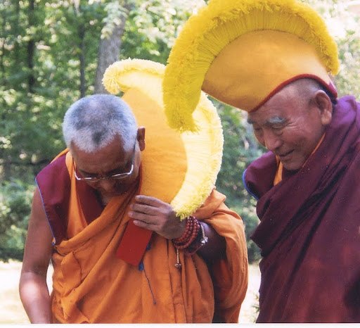 Lama Zopa Rinpoche and Geshe Lhundub Sopa at Deer Park Buddhist Center, Oregon, Wisconsin, U.S. Photo by Kalleen Mortensen.