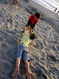 Kai and Eidan on the beach in San Diego