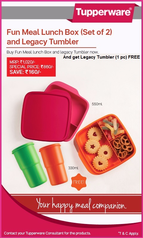 new tupperware fun meal lunch box set of 2