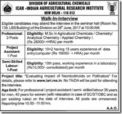 IARI Walk in INterview 2017 www.indgovtjobs.in