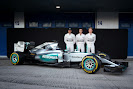 Mercedes W06 with Lewis Hamilton, Pascal Wehrlein and Nico Rosberg
