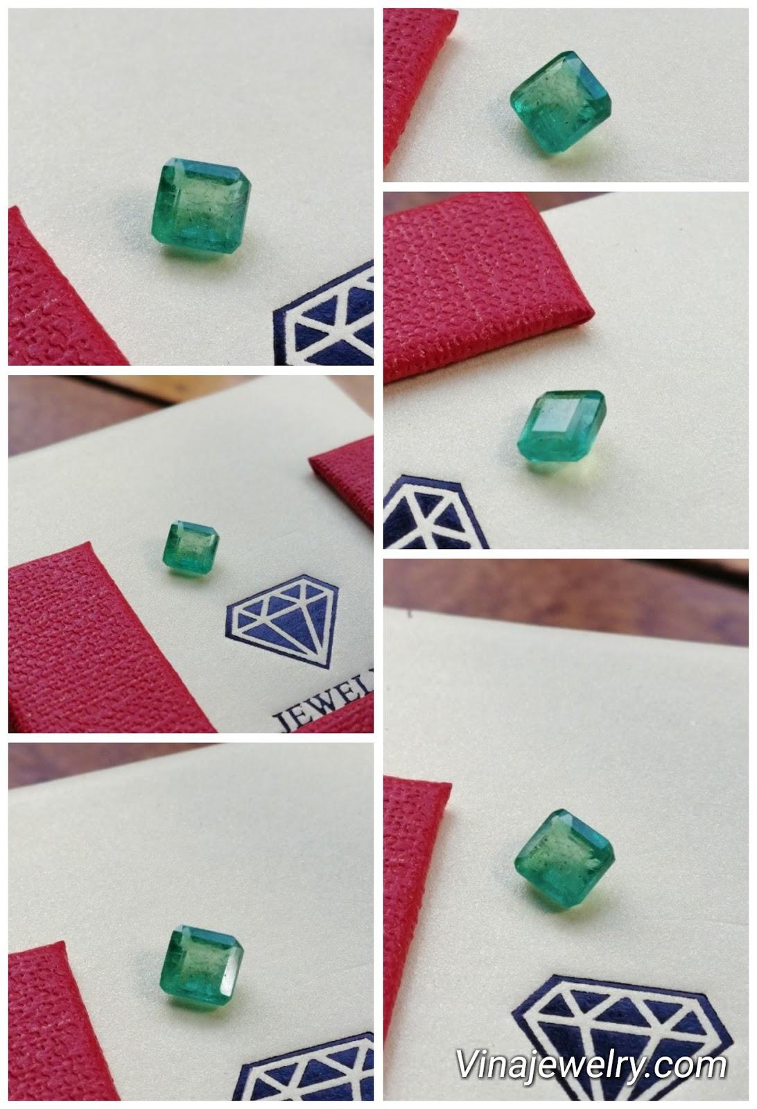 Đá Ngọc Lục Bảo thiên nhiên, Natural Emerald hình vuông 0.8cts