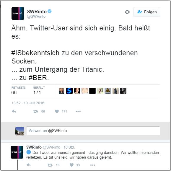 Hashtag ISbekenntsich SWR