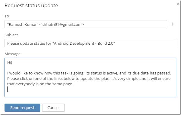 Wrike: Status Update Email