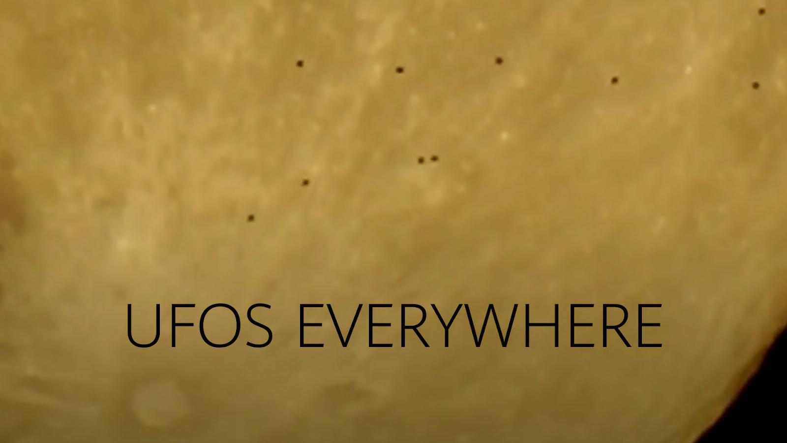 Large Fleet Of UFOs Crossing The Moon
