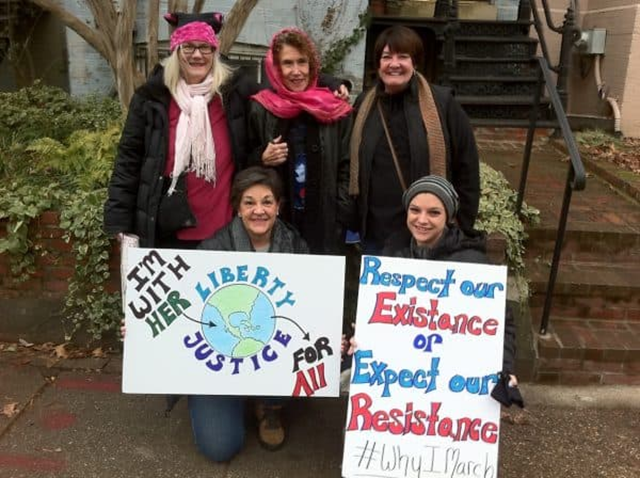 Retired EPA Senior Science Advisor Rita Schoeny attends a March for Science with some friends. Photo: Rita Schoeny